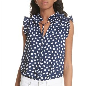 Kate Spade cloud print tie front blouse NWT